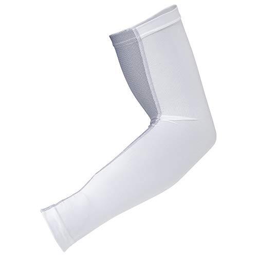 おたふく手袋 ボディータフネス 冷感 パワーストレッチ アームカバー メッシュ JW-619 ホワイト×グレー
