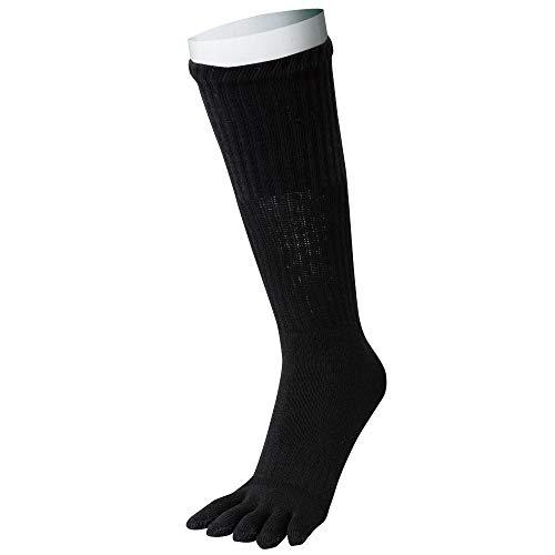 おたふく手袋 防寒靴下 5本指ソックス 指までパイル カカトなし 2足組 安全靴にも ブラック BS-319