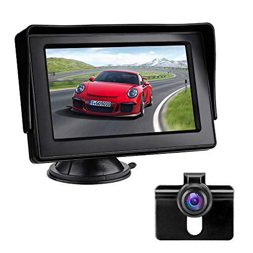 4.3インチ バックモニターカメラセットLCD 高画質 IP68防水カメラ 取り付け簡単 12V車用 車載 モニター 駐車支援 ガイドライン有り