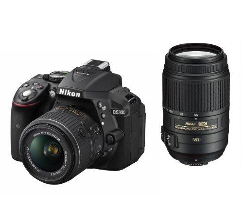 Nikon D5300 24.2 MP CMOS Digital SLR Camera Double Zoom Lens Kit with 18-55mm f/3.5-5.6G ED VR II + 55-300mm f/4.5-5.6G ED VR - International Version (No Warranty) [並行輸入品]