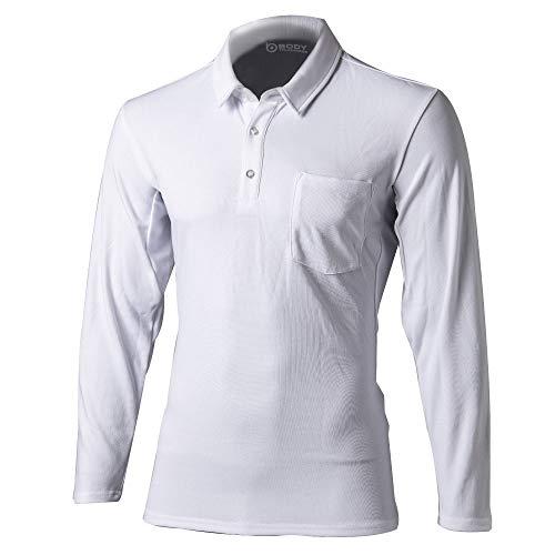 おたふく手袋 ボディータフネス 吸汗 速乾 デュアルメッシュ ポロシャツ ロングスリーブ ホワイト Lサイズ JW-604