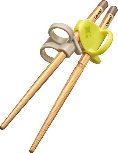 コンビ ベビー用はし はじめておはし木箸 右手用 ライム (イエロー) 2歳頃から対象