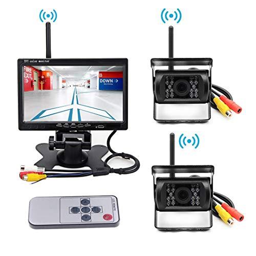7インチワイヤレスデジタルクモニター 2つ無線バックカメラ 12V 自動車用 IP67防水 駐車支援システム ガイドライン表示あり 暗視機能、 電磁波干渉防止、 取り付け簡単