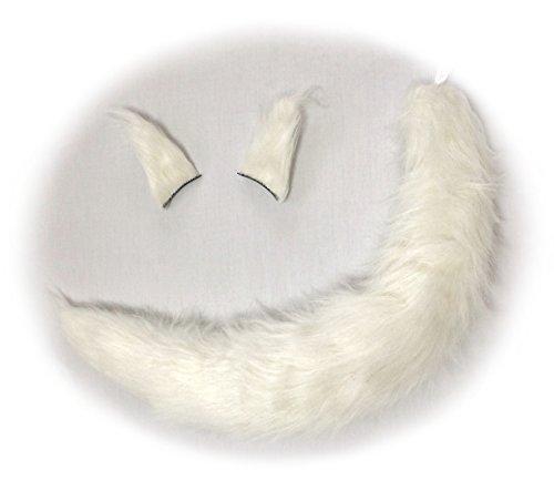 【コスプレ】 動物 の 耳&しっぽ セット 犬 狐 狼 ボリューム満点 もふもふ感!ヘアピンタイプ (白色:75cm)