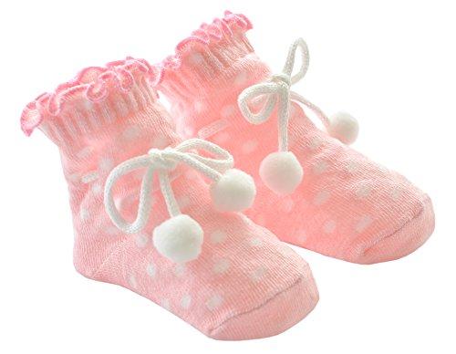 DinDonオリジナル ベビー靴下 パウダースノー 0-12ヶ月 ピンク #5101