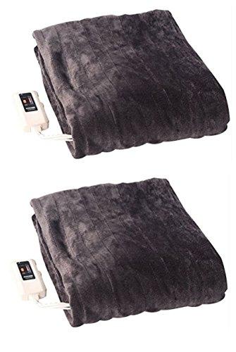 【まとめ割・二人で2枚】山善(YAMAZEN/ヤマゼン) ふんわりやわらか 電気掛・敷毛布(188×130cm)ミックスフランネル素材 室温センサー付 YMK-MF41 × 2枚