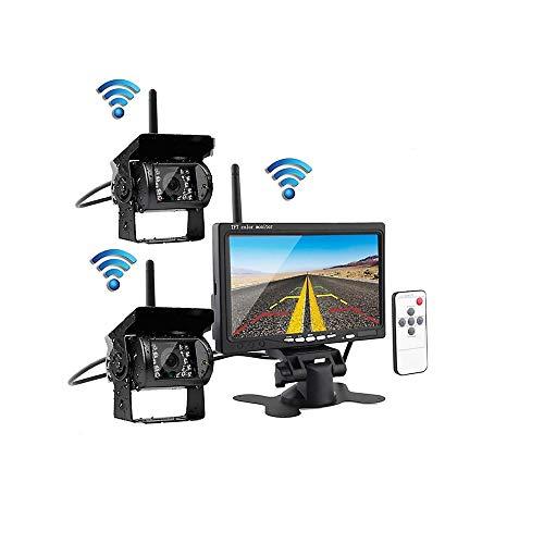 7インチモニター ワイヤレス デジタルカメラ バックカメラ 2×リアビューカメラ 高画質 車用 IP67防水カメラ 暗視機能 駐車支援システム 超広角 12V/24V兼用 取り付け簡単