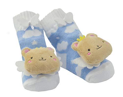 DinDonオリジナル ベビー靴下 DA ラトルサウンドソックス ベア 0-12ヶ月 ブルー #5117