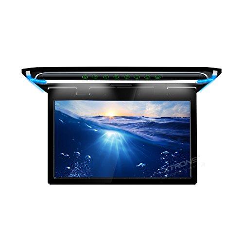 (CM156HD)XTRONS 最新 15.6インチ 大画面 フリップダウンモニター 1920x1080 解像度 超薄 軽 HDMI対応 1080Pビデオ対応 外部入力 ドア連動 水平開閉180度 USB・SD