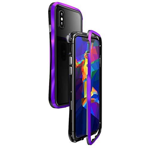 リスカイケース iPhone8/7 パープル ブラック アルミ ガラス マグネット 曲線形状