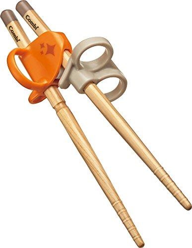 コンビ ベビー用はし はじめておはし木箸 左手用 オレンジ 2歳頃から対象