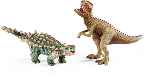 Schleich North America Saichania & Giganotosaurus Toy Figure, Small [並行輸入品]