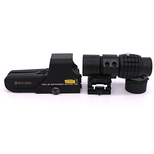 REALCERA 552 タイプ ホロサイト ドットサイト HD 3倍ブースター FTSマウント 倍率コンバーター 焦点の光色や照度および方向の調整ができる