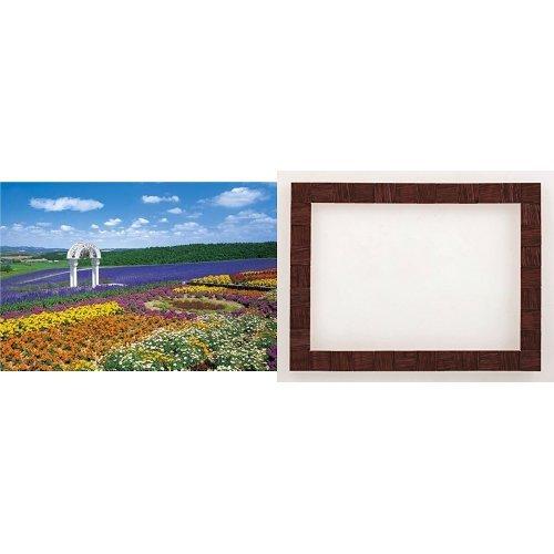 300ピース 花の咲く丘-富良野 デコラティブフレームセット ウッドチップデザイン