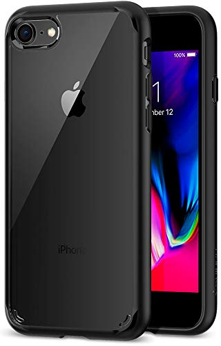 【Spigen】 スマホケース iPhone8 ケース / iPhone7 ケース 対応 背面クリア 米軍MIL規格取得 耐衝撃 すり傷防止 ワイヤレス充電対応 ウルトラ・ハイブリッド 2 042CS20926 (ブラック)