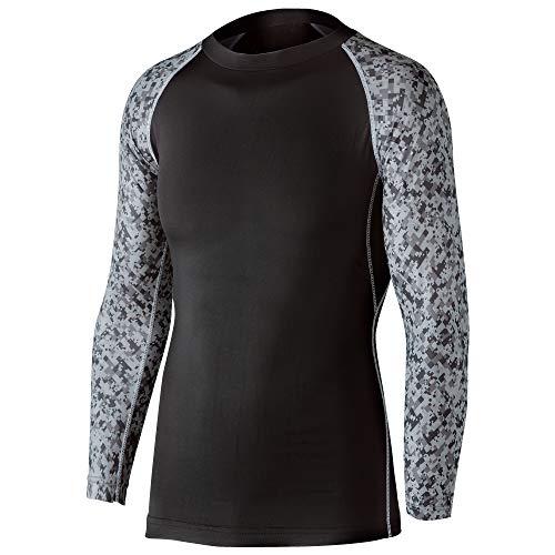 おたふく手袋 ボディータフネス 冷感・消臭 パワーストレッチ 長袖クルーネックシャツ JW-623 ブラック×迷彩 L