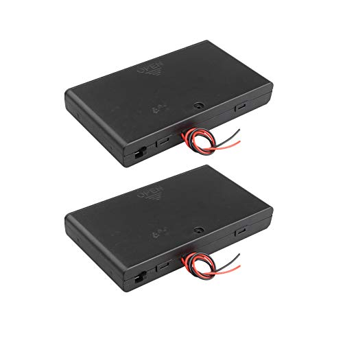 HALJIA 2個12V AA 8 x 1.5V電池ホルダーケースプラスチック製バッテリー収納ボックス、ON/OFFスイッチケースカバーおよびワイヤーリード付き
