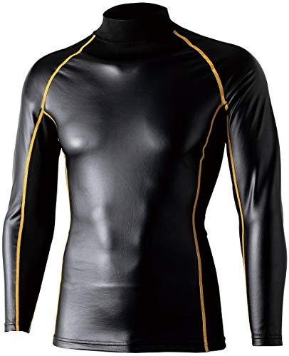 おたふく手袋 ボディータフネス 腕まで防風パワーストレッチ ハイネックシャツ ブラック×イエロー Sサイズ JW-191
