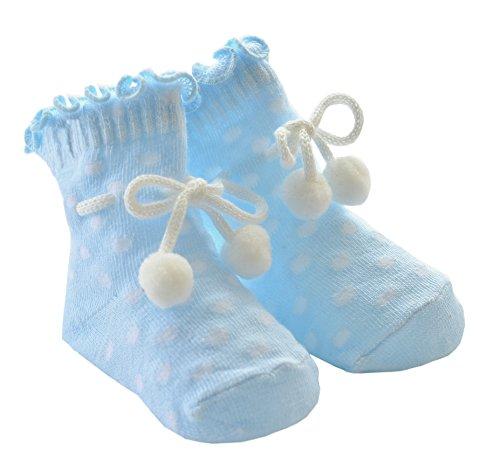 DinDonオリジナル ベビー靴下 パウダースノー 0-12ヶ月 ブルー #5102