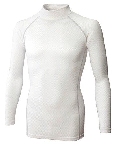 おたふく手袋 ボディータフネス 保温・消臭 長袖 ハイネックシャツ 織柄チェック ストレッチ ホワイト L JW-172