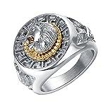 Yoursfs 指輪 男性向け クラシック パンクスタイル ヒップホップリング クール ライオンヘッドの指輪 ゴールドとシルバーのカラーリング 7 ゴールド