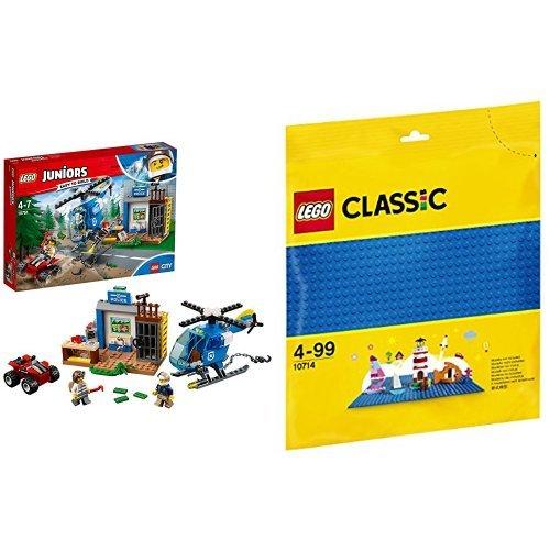 レゴ(LEGO) ジュニア シティ 山のドロボウたいほ 10751 & クラシック 基礎板(ブルー) 10714