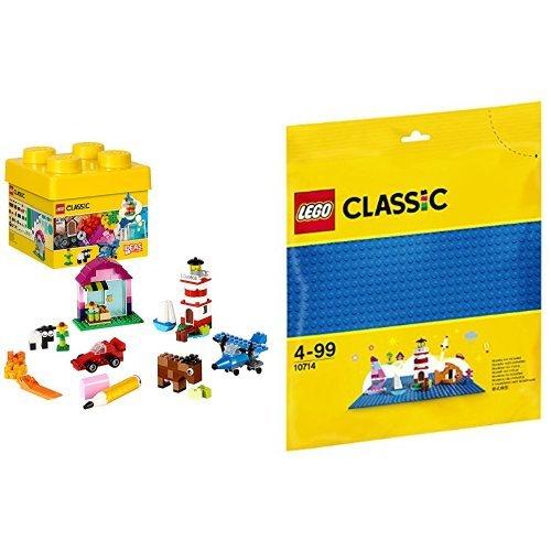 レゴ (LEGO) クラシック 黄色のアイデアボックス <ベーシック> 10692 & クラシック 基礎板(ブルー) 10714