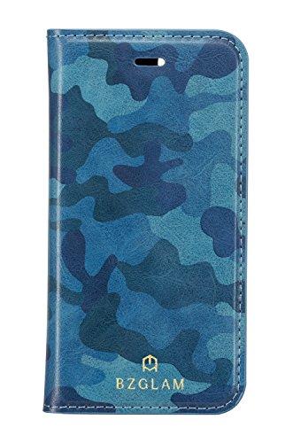 サンクレスト iDress iPhone6s 4.7インチ 対応 BZGLAM Slim Style カモフラージュ手帳型カバー ブルー i6S-BZ17