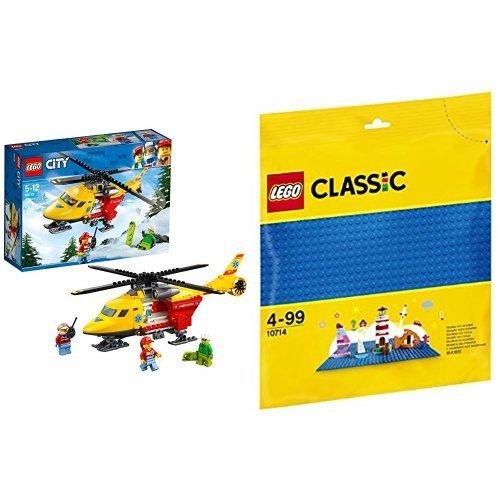 レゴ(LEGO) シティ 救急ヘリコプター 60179 & クラシック 基礎板(ブルー) 10714