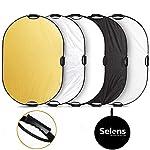 Selens 5-IN-1 撮影用 楕円レフ板 ハンドル付き スタジオレフ板 折りたたみ可能 80x120cm (1枚で5色対応-金/銀/白/黒/半透明)