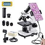 単眼生物顕微鏡 200~2000倍 上下LEDライト内蔵 標本 スマホ撮影セット 日本語の説明書付き 顕微鏡 ハンディ 子供 小学生 中学生 高校生や大人 初心者の学習用 マイクロスコープ