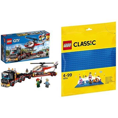 レゴ(LEGO) シティ 巨大貨物輸送車とヘリコプター 60183 & クラシック 基礎板(ブルー) 10714