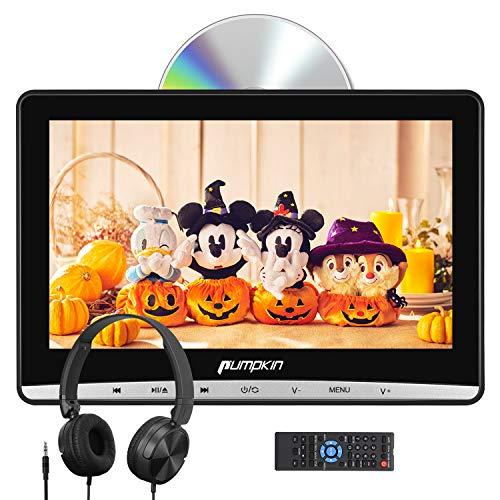 PUMPKIN 12インチ ヘッドレストモニター dvd スロットイン式 ヘッドホン付 超薄型 dvdプレーヤー 車載 CPRM レジューム機能 AV-IN AV-OUT USB SD 18ヶ月保障