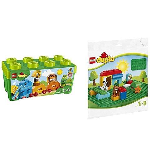 レゴ(LEGO) デュプロ みどりのコンテナデラックス どうぶつでんしゃ 10863 & デュプロ 基礎板(緑) 2304