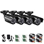 ZOSI AHD防犯カメラ ハイビジョン 高画質 720P 130万画素カメラ AHD録画機対応 防水 暗視 屋内外設置 ブラック (4台セット)