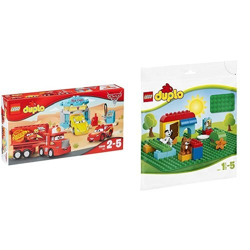レゴ (LEGO) デュプロ ディズニー カーズ フローのカフェ 10846 & デュプロ 基礎板(緑) 2304