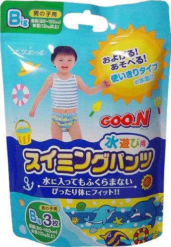 水遊び用紙おむつグ~ンBigサイズ・3枚入り12パック(ブルー) ※グーン スイミングパンツ