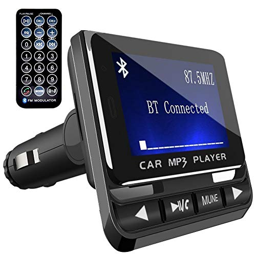 FMトランスミッター TC Bluetooth ワイヤレス 発信機 無線 レシーバー 高音質 TFカード & USBメモリー対応 急速充電USBポート搭載 ハンズフリー通話 カーチャージャー 有線接続「AUX-IN」採用 超大ディスプレイ搭載 日本語説明書付き 一年メーカー質量保証 (ブラック)