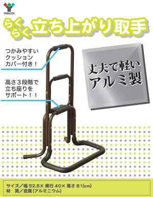山善(YAMAZEN) 立ち上がり補助手すり ダークブラウン KRT-80(DBR)