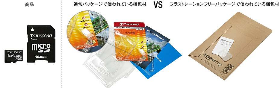 「メモリーカード」通常パッケージと、Amazonフラストレーション・フリー・パッケージ