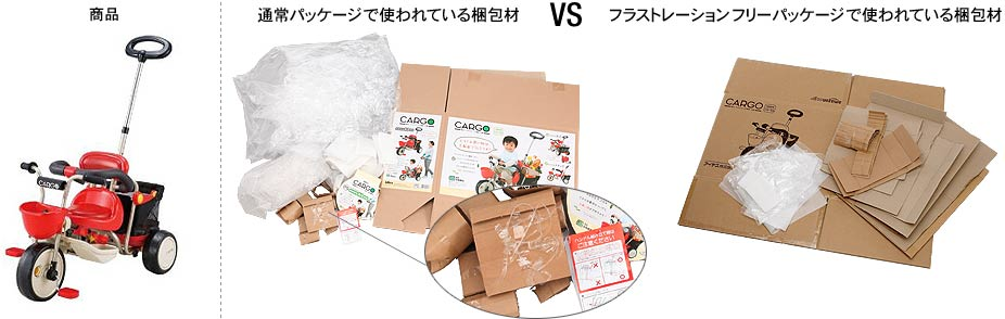 「アイデス 三輪車」通常パッケージと、Amazonフラストレーション・フリー・パッケージ