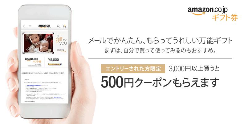 Amazonギフト券 3,000円買うと500円クーポンもらえます エントリーされた方限定