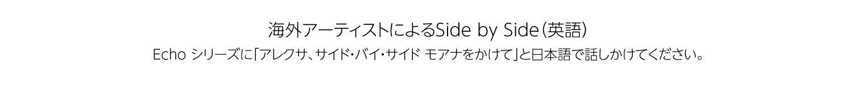 海外アーティストによるSIDE by SIDE (英語) Echo シリーズに「アレクサ、サイド・バイ・サイド モアナをかけて」と日本語で話しかけてください。