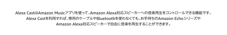 Alexa CastはAmazon Musicアプリを使って、Amazon Alexa対応スピーカーへの音楽再生をコントロールできる機能です。 Alexa Castを利用すれば、専用のケーブルやBluetoothを使わなくても、お手持ちのAmazon Echo シリーズやAmazon Alexa対応スピーカーで自由に音楽を再生することができます。