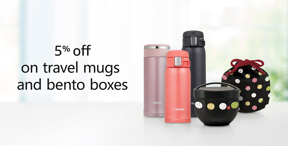 5% off on travel mugs and bento boxes