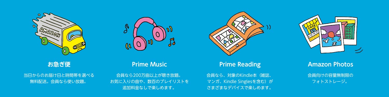 そのほかのプライム会員特典紹介「お急ぎ便」「Prime Music」「Prime Reading」「Amazon Photos]