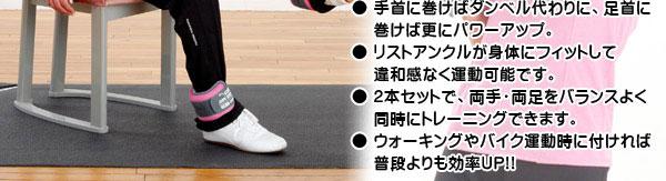 ● 手首に巻けばダンベル代わりに、足首に巻けば更にパワーアップ。● リストアンクルが身体にフィットして違和感なく運動可能です。● 2本セットで、両手・両足をバランスよく同時にトレーニングできます。● ウォーキングやバイク運動時に付ければ普段よりも効率UP!!