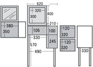 市場 emo.Dresser&Stool EMM-2060 ドレッサー&スツール