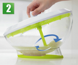 サラダスピナー Wash&Flesh 野菜水きり・流水洗い・米洗い DOSW01