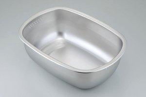ステンレス製の小判型洗い桶 足付 30248